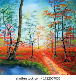 Ambience in Herbstmalerei in Öl.