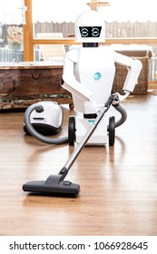 ambient assisted living roboter is vacuuming the floor of the living room
