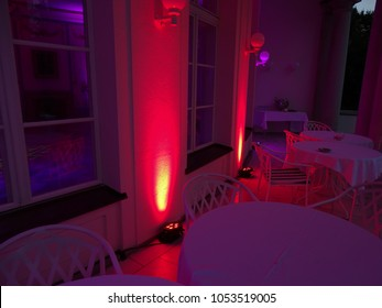 Ambiente Lighting from a discjockey at a wedding party in a old castle