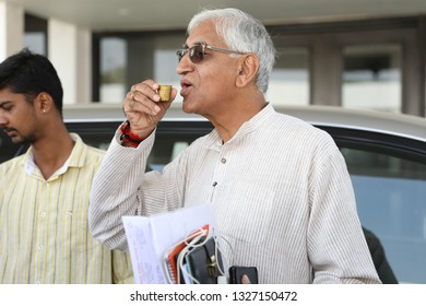 Ambikapur, Chhattisgarh,11-11-2018:Tribhuvaneshwar Saran Singh Deo or T. S. Singh Deo addressing the people at home