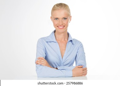ambitious woman smiling at work
