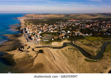 Ambleteuse, Cote Opale/France - march 10 , 2020:  Aerial photo of Ambleteuse with the river La Slack that flows next to Fort Vauban in the foreground. Photo taken with drone in a northerly direction