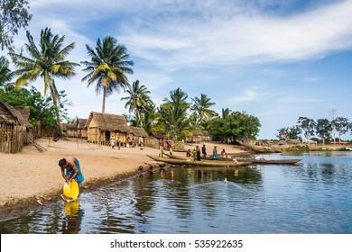 Ambohitsara, Madagascar, Nov. 10: Malagasy typical village along the Pangalanes channel, eastern Madagascar on Nov. 10, 2016