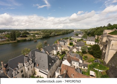 Amboise city view with Loire river and blue sky
