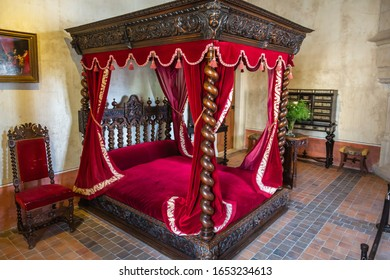 AMBOISE, FRANCE - AUGUST 01, 2014: The ancient bedroom at the Leonardo da Vinci Museum in the chateau of Clos Luce in Amboise, in which the artist lived the last three years of his life.