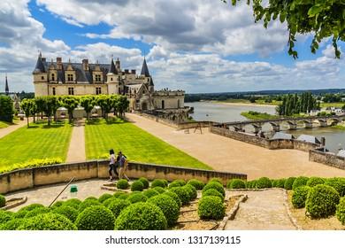AMBOISE, FRANCE - JULY 2, 2016: Beautiful medieval castle - Chateau d'Amboise (late XV century); UNESCO World Heritage Site. Amboise, Indre-et-Loire, Loire Valley, France.