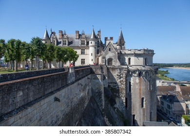 AMBOISE, FRANCE - JUNE 01, 2015: fortified castle of Amboise and tourists