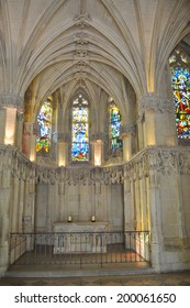 AMBOISE, FRANCE - JUNE 02, 2014: The chapel of Saint Hubert at Royal Chateau at Amboise castle where Leonardo da Vinci is buried