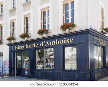 Amboise, France - June 8, 2018. Antique biscuit and dessert shop in the historic center.