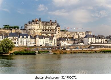 Amboise, France. Picturesque Amboise Castle - one of the royal castles of the Loire river. UNESCO list