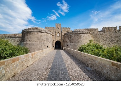The Amboise gate and city walls of medieval town of city of Rhodes (Rhodes, Greece)
