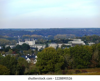 Amboise, Indre et Loire/France - 11/03/2018 : Amboise castle seen from the top of the Chanteloup pagoda. Castle of the Loire