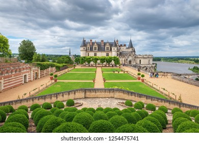 AMBOISE, INDRE-ET-LOIRE, FRANCE - JUNE 17, 2018: View of the Chateau Amboise in the Loire Valley from the Royal Garden