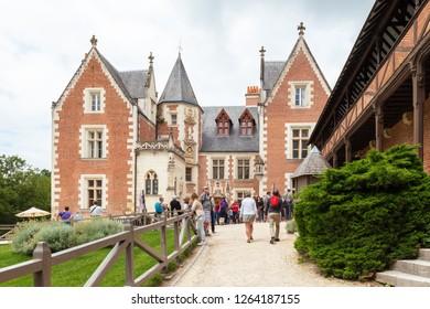 AMBOISE, INDRE-ET-LOIRE, FRANCE - JUNE 17, 2018: View of the Château du Clos Lucé, official residence of Leonardo da Vinci