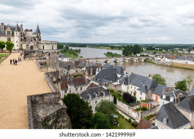 AMBOISE, INDRE-ET-LOIRE, FRANCE - JUNE 17, 2018: Scenic view of the Loire River from the Royal Garden of the Chateau Amboise