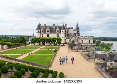 AMBOISE, INDRE-ET-LOIRE, FRANCE - JUNE 17, 2018: Scenic view of the Chateau Amboise and the Loire River from the Royal Garden