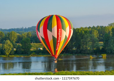 Amboise, Loire Valley / France: June 22 2012: Hot air balloons over the Loire Valley and Amboise