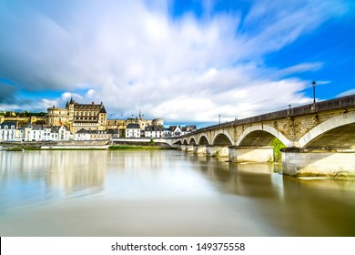Amboise medieval castle or chateau and bridge on Loire river. France, Europe. Unesco site.