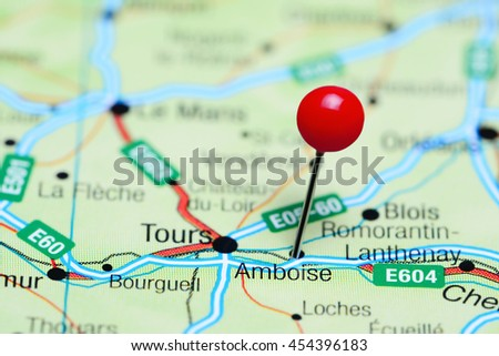 Amboise Pinned On Map France Stock Photo Edit Now 454396183