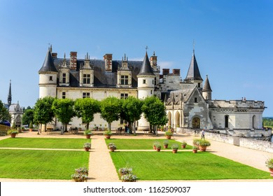 Amboise,France,8/26/2017. The Amboise Castle is a  located in the Loire Valley in France. Included in the top ten of the best castles of Loire Valley.