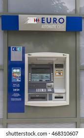 AMBOISE,FRANCE-CIRCA JUNE 2016: Street bancomat service machine