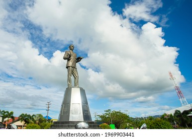 Ambon, Indonesia, 09-20-2020  : Statue of DR. Johannes Leimena, Indonesian national hero from Ambon, Maluku. It is become a landmark and icon of Ambon city, a popular tourist destination.