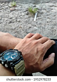 Ambon, Indonesia - April 06 th, 2021- Defocus abstract background of G-Shock Watch on the hand