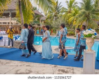 Ambon, Indonesia - February 10, 2018: Weeding party at the luxury resort of tropical Island, Ambon, Maluki, Indonesia.