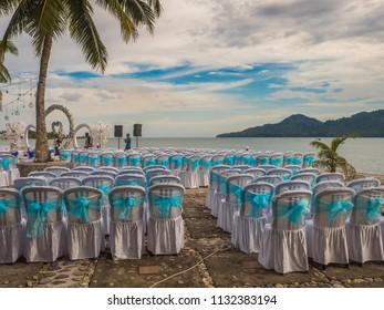 Ambon, Indonesia - February 10, 2018: Wedding party at the luxury resort of tropical Island, Ambon, Maluki, Indonesia. Wedding Set Up