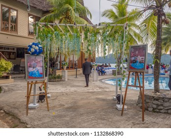 Ambon, Indonesia - February 10, 2018: Weeding party at the luxury resort of tropical Island, Ambon, Maluki, Indonesia. Wedding Set Up. Welcome board  and decorative bow