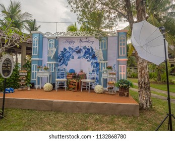 Ambon, Indonesia - February 10, 2018: Weeding party at the luxury resort of tropical Island, Ambon, Maluki, Indonesia. Wedding Set Up. Welcome place for making pictures.