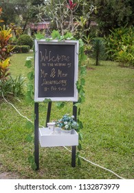 Ambon, Indonesia - February 10, 2018: Weeding party at the luxury resort of tropical Island, Ambon, Maluki, Indonesia. Wedding Set Up. Welcome board.
