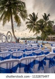 Ambon, Indonesia - February 10, 2018: Weeding party at the luxury resort of tropical Island, Ambon, Maluki, Indonesia. Wedding Set Up