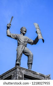 Ambon, Indonesia - October 25, 2018: Statue of Pattimura (Thomas Matulessy), an Indonesian National Heroes, Ambon City near Lapangan Merdeka Ambon