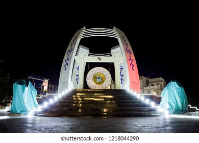 Ambon, Indonesia - October 26, 2018: World Peace Gong Monument, Maluku Indonesia at Night