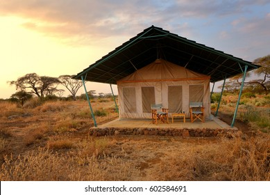 AMBOSELI, KENIA - AUG 23, 2010: Accommodation unit in Sentrim Amboseli Tented Camp Luxury Lodge at evening, campsite near Masai Mara national park, Kenya, Africa