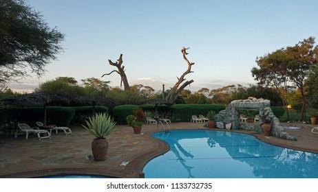 Amboseli,  Kenya, Circa June 2018 - Safari Lodge and kilimandjaro