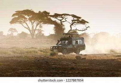 Amboseli/Kenya- March 25 2017 Year: Jeep safari in Amboseli National Park Kenya
