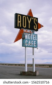 Amboy, CA - May 28 2019: The Route 66 landmark Roy's Cafe neon sign, before its restoration.