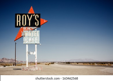AMBOY, CA, USA - JULY 31: Legendary Roy's Motel and Cafe in Amboy, CA on July 31, 2013. Roy's Motel and Cafe was a classic stop for gasoline or rest in the Mojave desert on historic Highway Route 66.