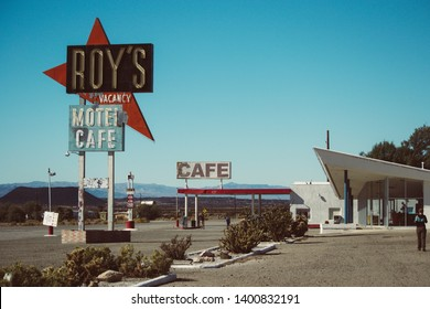 Amboy, California, November 2013: Famous Roy's café and gas station alongside classic Route 66