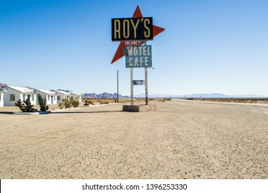 Amboy, Route 66, California USA October 2013: view on Roy's café motel and gas station, which is an example of Googie architecture.