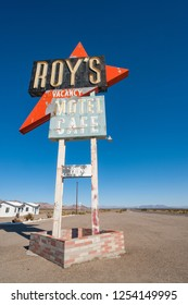Amboy, Route 66, USA - 26th Febuary, 2013: Roy's motel and cafe in Amboy, California. Famous road side stop on route 66 in California.