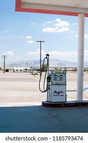 Amboy, USA - August, 2014. Vintage gas pump at Roy's petrol station.