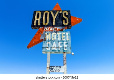Amboy, U.S.A. - May 27 2011: California, the sign of the Roy's motel and cafe on the Route 66