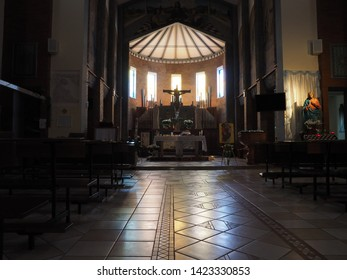 Ambrogio, Italy - June 6, 2019. Chiesa dell'Annunziata. A first church is attested in 1188, the current church was built in 1961.