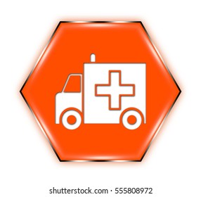 "ambulance button isolated. ""3d illustration"""