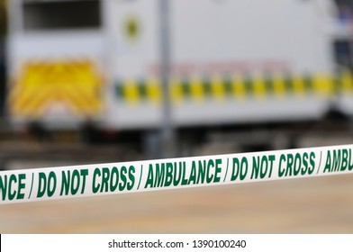 Ambulance cordon tape seal off an area for medical staff to work at a major incident.