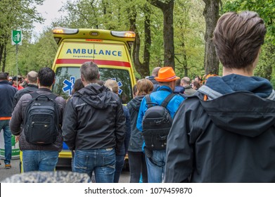 Ambulance And Crowd At The Vondelpark On Kingsday Amsterdam The Netherlands 2018