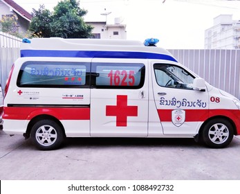 Ambulance or emergency car of the red cross society of Laos parking to ready for send injured people to the hospital.May 11,2018 : Vientiane,Laos.